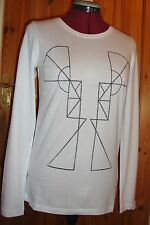 BNWT  Ladies Hand Screen Printed White Patterned Long Sleeved Top Size 14