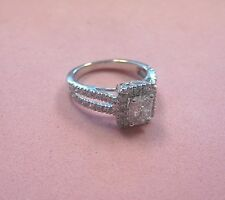 Beautiful 0.90 ctw Diamond Engagement Ring 14K White Gold sz 4.5 Michael Hill