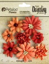 Mini Mix SPICE 8 Teastained Paper Flowers 20-35mm across Darjeeling Petaloo