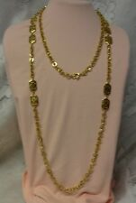 Vintage Gold Finish Alfred Philippe Crown Trifari Long Opera Fantasy Necklace