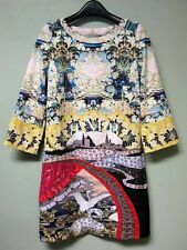 Mary Katrantzou Digital Eva Swan Village Floral Print Shift Mini Dress 4 UK8 NWT