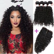 300g/3bundles virgin malaysian kinky curly human hair 12,14,16 with closure 10