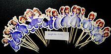 12 X Sofía la primera Pastel picos, Cupcake Toppers Niñas Cumpleaños Decoración Muñeca 34