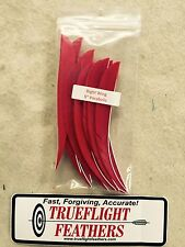 Trueflight 5 inch Feathers Right Wing Parabolic Cut Dozen Pack Red