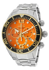 New Mens Invicta 14200 Lupah Chronograph Orange Dial Bracelet Watch