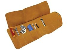 FAITHFULL 10 POCKET HARD WEARING LEATHER TOOL ROLL