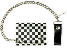 BLACK WHITE CHECKERED TRIFOLD MOTORCYCLE BIKER WALLET W CHAIN mens #536 LEATHER