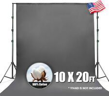 10 x 20ft Gray Muslin Backdrop 100% Cotton Photography Background Photo Studio