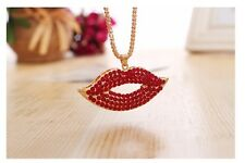 Chunky Gold Chain Lip Necklace Choker Rhinestones Fashion Jewellery