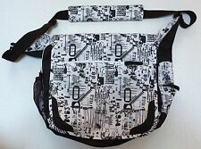 Jansport Messenger Bag Black & White Barcodes Codes Text Rare Many Compartments
