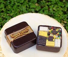 Miniature Dollhouse FAIRY GARDEN Accessories ~ Chocolate Candy in Box with Bow