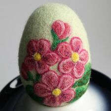 Handmade felted Easter egg with pink flowers , 3D effect, 3 ½in.