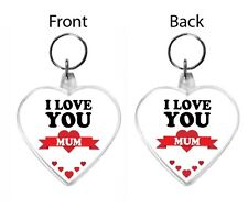 I Love You Mum Acrylic Keyring Key Ring Range Mother Mummy