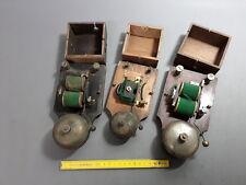 ancien Lot de 3 sonnettes en bois et métal télèphone ancien