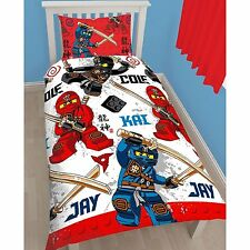 SINGLE BED DUVET COVER SET LEGO NINJA WARRIOR BLOCKS RED BLUE BLACK SWORDS KIDS
