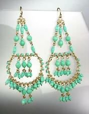 GORGEOUS Turquoise Crystals Peruvian Beads Gold Chandelier Dangle Earrings B15-1