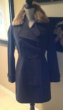 Banana Republic Deep Grey Coat Removable Faux-Fur Collar Military-Inspired NWT S