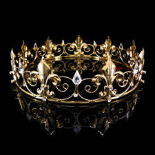 Men's Imperial Medieval Fleur De Lis Gold King Crown 4.5cm High 18cm Diameter