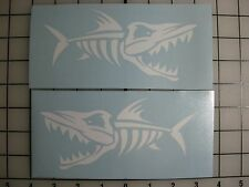 "Two 6"" Bone Fish Decals WHITE Sticker Fishing Boat Truck Car Window Shark Jaws"