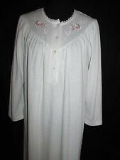 Miss Elaine Long Sleeve Nightgown Medium White Embroidered Flowers Textured Gown