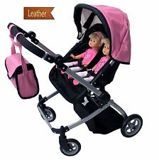 Babyboo Luxury Leather Look Twin Doll Pram/Stroller with Free Carriage Multi All