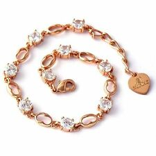 Vintage Womens Clear Round Crystal Rose Gold Filled Link Chain Bracelet