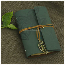Journals Leaves Leather Refillable Personalized Diary Portable Notebook Green