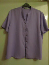 Light Purple Crinkle Fabric Short Sleeve Blouse / Top in Size 16 - NWOT