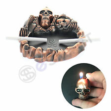 Skeleton Cigratte Ashtray Lighter Set Combo Novelty Skull Vintage Bronze New