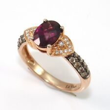 LeVian 14K Rose Gold Rhodolite Garnet Chocolate Diamond Ring Size 6.5