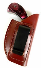 BROWN LEATHER IN-THE-PANTS IWB CLIP-ON HOLSTER for NAA 22 MAGNUM MINI REVOLVER