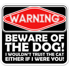 "Warning Beware Of The Dog car bumper sticker decal 4"" x 4"""