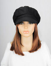 M208 Black Solid Lovely Trendy Winter Autumn Hat Cap Visor Newsboy Women's