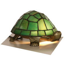 25 watt antique 'Tortoise' table lamp with green tiffany style leaded glass