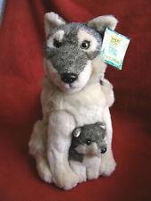 """Wild Republic 2003 12"""" Wolf w/ Baby - Plush Stuffed w/ tag"""
