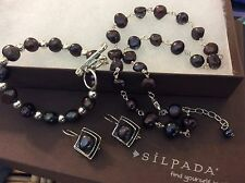 SILPADA Set Sterling Silver Necklace Bracelet Earrings Dark Gray Purple Pearls