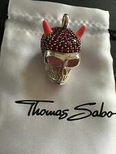 New Genuine Thomas Sabo Sterling Silver Red Cubic Zirconia Skull Pendant RRP$689