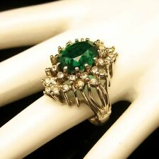 Vintage Cocktail Ring Large Green Glass Stone Rhinestones Gold Plated Size 8