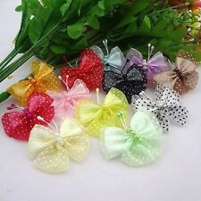 20pcs Organza Ribbon Flowers Butterfly Wedding appliques Craft Lot A012