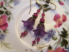 LUCITE FLOWER EARRINGS VINTAGE STYLE PURPLE Fuschia Swarovski elements