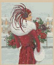Cross Stitch chart art deco lady 10 FlowerPower37-UK-...free uk P&p..