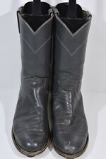 JUSTIN WOMENS 7 B L3056 GRAY LEATHER WESTERN ROPERS COWBOY BOOTS