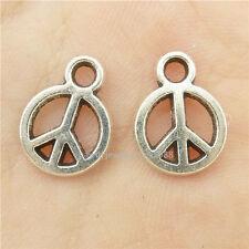 15397*100PCS Silver Vintage Mini Hollow Peace Symbol Pendant Alloy Antique