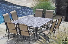 Patio Furniture Outdoor Dining set sling Trinity 9 pc cast aluminum Bronze New