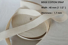 40mm NATURAL Thin 1.7mm 100% Cotton Strap bag Belt Sew TRIMMING Stitch x 20 Yard
