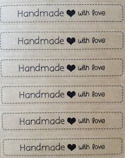 X72 Handmade With Love - Label Seal Kraft Stickers - Craft, Weddings, Homemade