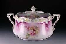 RS Prussia Cracker Jar Stippled Mold Floral Pink Yellow Roses