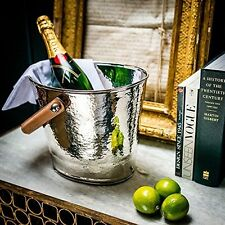 Culinary Concepts Leather Handled Wine Cooler Ice Bucket - Champagne Hammering