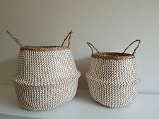 Seagrass Handwoven Belly Baskets Set Natural White Zig Zag lovely!