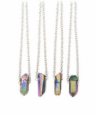 Rainbow Aura Crystal Stone Pendant Necklace-Vintage Boho-Galaxy Quartz Jewellery